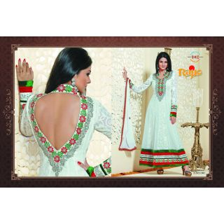 Orchid designer georgette semi stitched anarkali suit with embroidery ( R-1041)