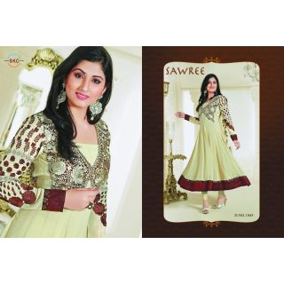 Orchid designer georgette semi stitched anarkali suit with embroidery ( R-1045)