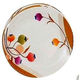 Set Of 24 Pcs Trendy White Melamine Full Dinner Plates - Design 4