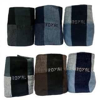 Sonpra Mens Royal Mid-Calf Length Cotton Socks (6 Pairs)