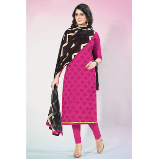 Sareemall Pink Embroidred Dress material with Matching Dupatta 21SPRK2111