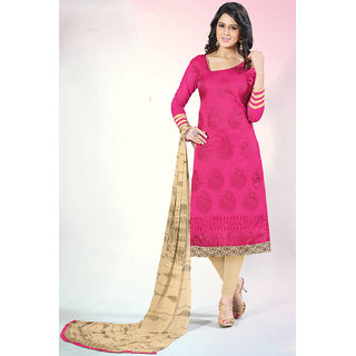 Sareemall Pink Chanderi Embroidered Salwar Suit Dress Material
