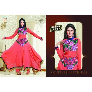 Orchid designer georgette semi stitched anarkali suit with embroidery ( R-1049)