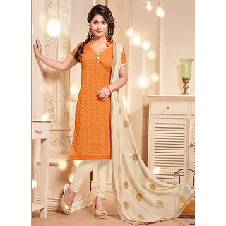 Sareemall Orange Embroidered Dress Material with Matching Dupatta 3PG12004