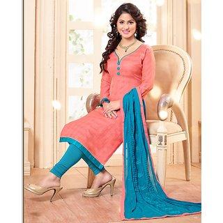 Sareemall Pink Printed Dress Material with Matching Dupatta 3PG12016