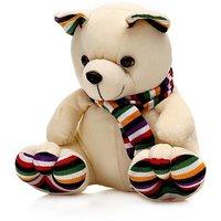 Tabby Toys Cute  Innocent  Muffler Teddy - 45 cm (Beige, Multicolor)