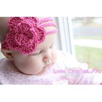 Love Crochet Art Crochet Baby Headband Pink for New Born