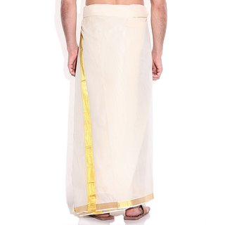 Fashionkiosks Mens Traditional 2 Inch Gold Colour Border Dhoti RubyStar370