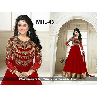 Shopeezo Daily Wear Red Color NA Dress Semi-Stitched