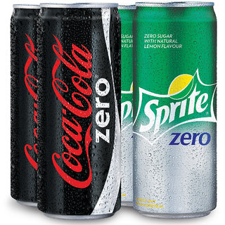 Coca-Cola Zero And Sprite Zero 300Ml Can Combo (Pack Of 4)