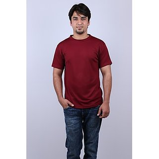 Onway Max Mesh Solid Round Neck Maroon Color T-shirt