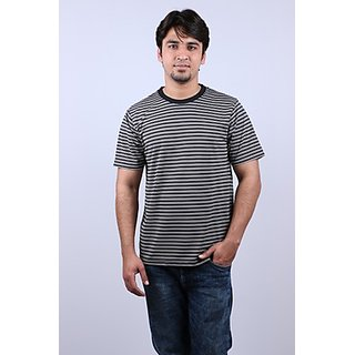 Onway Max Striper Round Neck Black Color T-shirt