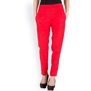 Castle Red Tussar Silk Plain Pencil Pant