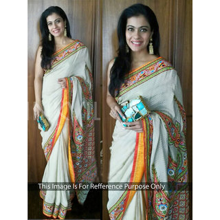 Thankar online trading White Georgette, Jacquard Embroidered Saree With Blouse