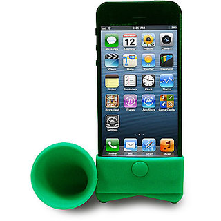 Gioiabazar For Apple Iphone 4 4S Portable Silicone Horn Stand Audio Dock Amplifier Speaker Green