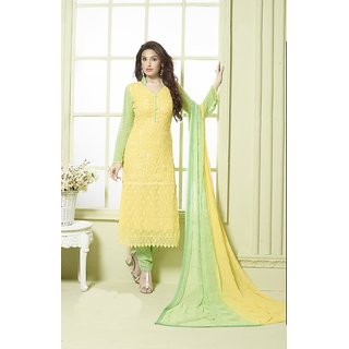 Thankar Yellow And Light Green Embroidered Pure Chiffon Straight Suit