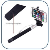 Portable Aluminium Alloy Selfie Stick with Aux Cable Extendable Handheld Selfie Stick with Button for Mobile Camera