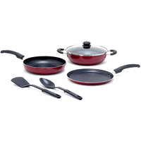 United Non-stick 3mm Heavy Gauge Cookware Set - 3 Pcs +1 Glass Lid (Induction Base)