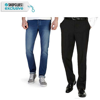 Stretchable Jeans With Formal Regular Fit Trousers