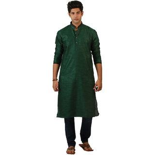 Amora Designer Ethnic Bottle Green Solid Linen A-line Kurta For Men