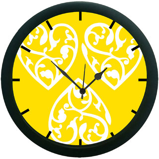AE World Yellow Abstract Wall Clock (With Glass)