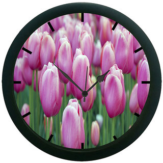 AE World Pink Flower Wall Clock (With Glass)