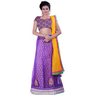 Sonika Purple Yellow Net 3 Piece Lehenga Choli