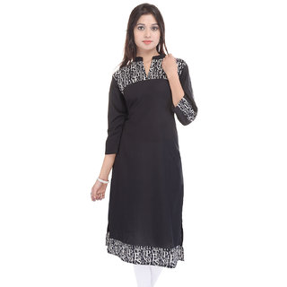 Vaachi Womens Printed Cotton Chinese Collar Kurti