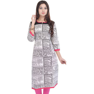 Vaachi Womens Printed Cotton Round Neck Kurti