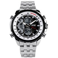 Addic Skmei Black Dial And Silver Belt Analogue-Digital Watch For Men