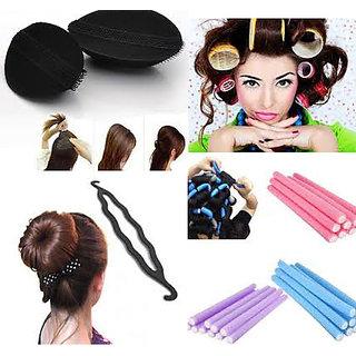 Homeoculture Combo of Hair Puff + Velcro Hair Roller + Hair Donut Maker +10 fem rods hair curler