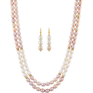 Sri Jagdamba Pearls Crusty Pearl Necklace Set