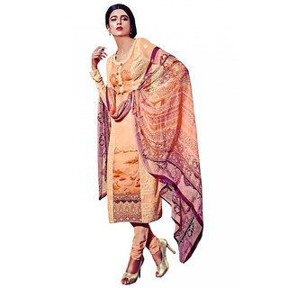 Sareemall Peach Embroidred Semi-stitched suit with Matching Dupatta 10HER5913