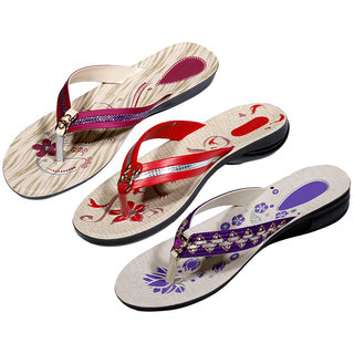 Krocs Super Comfortable  Flip flop For Women (Pack of 3 Pair)