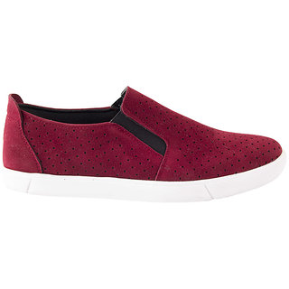 Ziera MenS Maroon Casual Slip On Shoes (ZO1028)