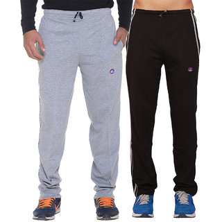 Vimal Grey And Black Mens Cotton Trackpants Pack Of 2