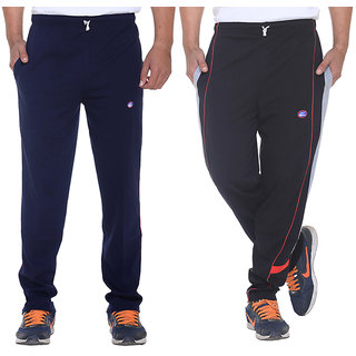 Vimal Navy Blue And Black Mens Cotton Trackpants Pack Of 2