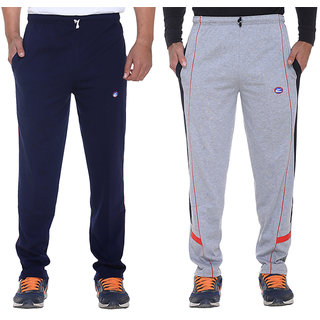 Vimal Navy Blue And Grey Mens Cotton Trackpants Pack Of 2
