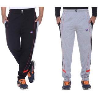 Vimal Black And Grey Mens Cotton Trackpants Pack Of 2