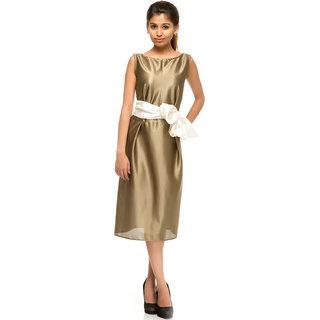 Rimsha Olive green midi party dress with white satin belt
