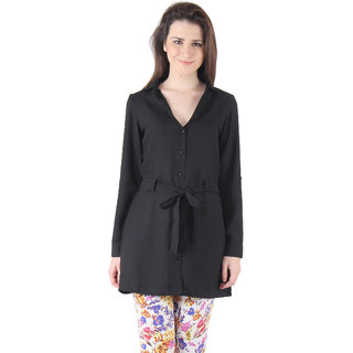 Ruhaans Black Crepe Solid/Plain V-Neck Casual Tunic