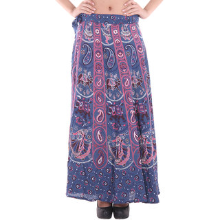 Ruhaans Multi Cotton Printed Casual Skirt