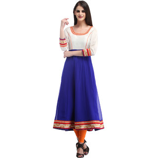 Yufta Blue Georgette Plain Anarkali Kurta