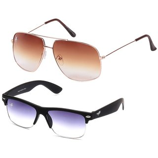 Eddys Yo Royal Brown Aviator  Slim Grey Wayfarer Combo
