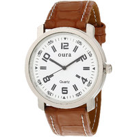 Oura Analog Round White Dial Casual Wear Watch For Men