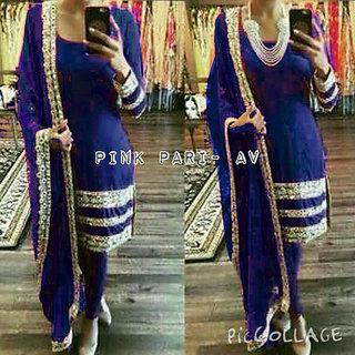Trendz Apparels Blue 60 gm Georgette Straight Cut Salwar Suit