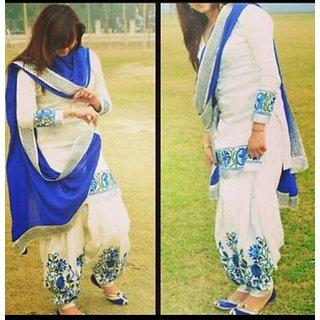 Trendz Apparels White Cotton Patiala Salwar Suit