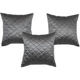 Box Quilting Cushion Cover Grey 30/30 Cm 3 Pcs Set