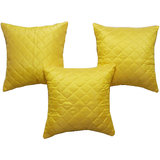 Box Quilting Cushion Cover Yellow 30/30 Cm 3 Pcs Set