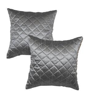 Box Quilting Cushion Cover 30/30 Cm Grey 2 Pcs Set